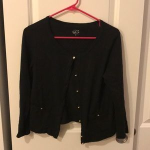 J.crew black cardigan with gold buttons (M)
